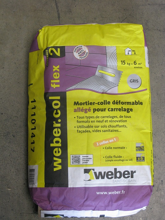 Weber col flex blanche sac de 25 kg weber colles for Ciment colle pour carrelage piscine
