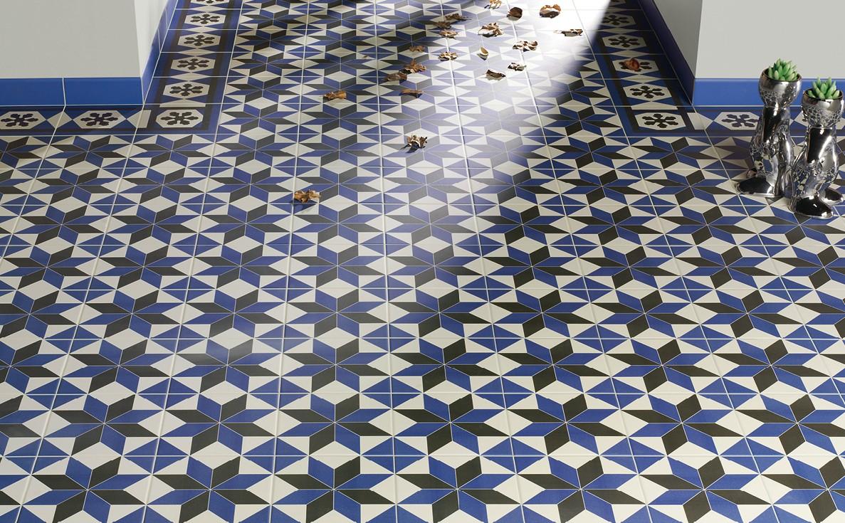 Carrelage aspect carreau ciment 20x20 d cor et frise victorian mainzu mainzu - Lino imitation carrelage ciment ...