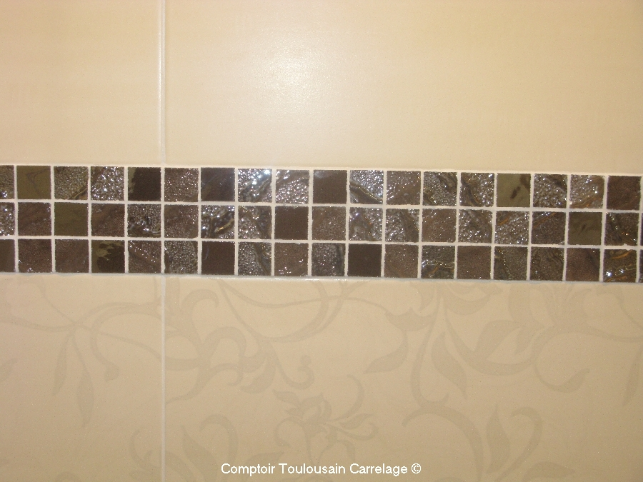 Carrelage d co mosaique en gr s c rame 30x30 s rie four for Frise de carrelage salle de bain