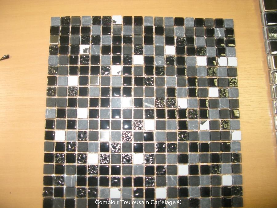 Plaque de mosaique 30x30 en p te de verre et inox mosaique et frise d coratives carrelage salle for Plaque de carrelage