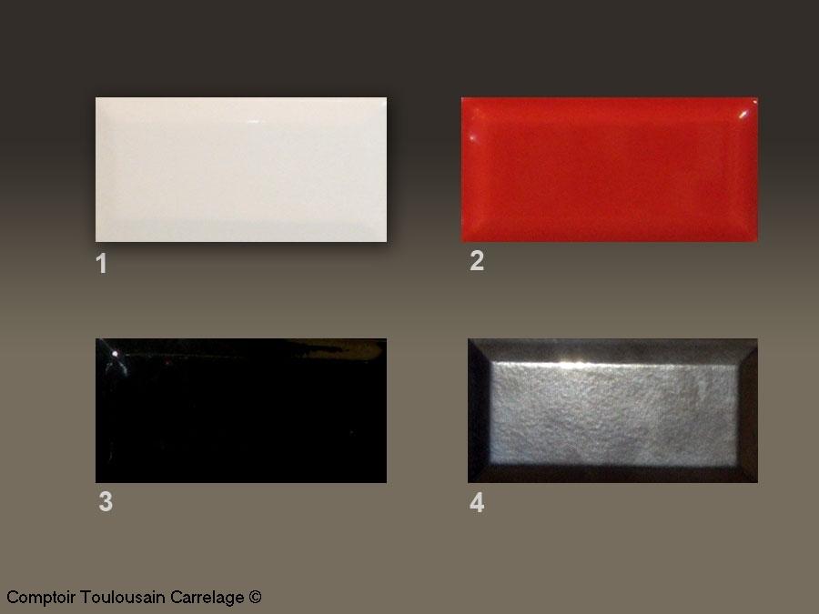 Carrelage metro 7 5x15 haut de gamme rouge noir blanc - Carrelage metro blanc mat ...