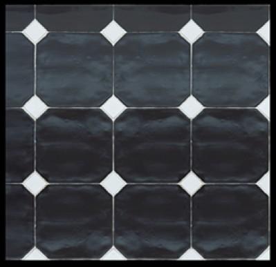 Carrelage 15x15 octogonal avec cabochons cevica sl ce vi for Carrelage noir et blanc