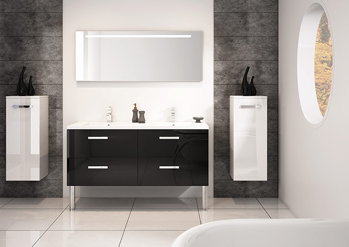 Meuble double vasques 140cm gloss noir s rie loft discac salle de bains meubl - Fin de serie salle de bain ...