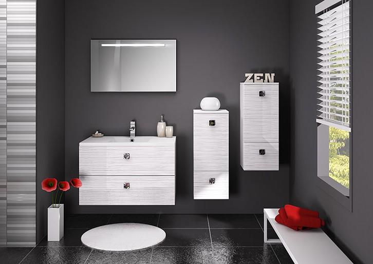 Meuble simple vasque 90cm s rigloss blanc s rie loft discac salle de bains me - Fin de serie salle de bain ...
