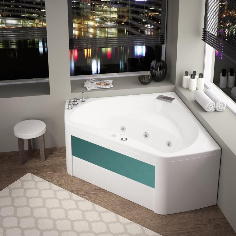 Baignoire balneo d 39 angle 140x140 star design mixte for Salle de bain avec baignoire d angle balneo