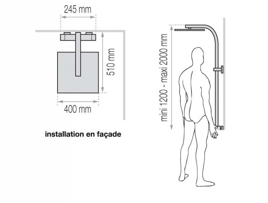 colonne de douche d me de pluie touareg avec mitigeur thermostatique et porte objet standard. Black Bedroom Furniture Sets. Home Design Ideas