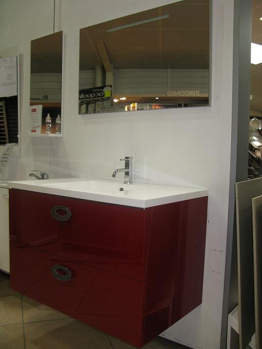 Meuble Simple Vasque Gamme Loft 90cm Gloss Rouge Discac Discac