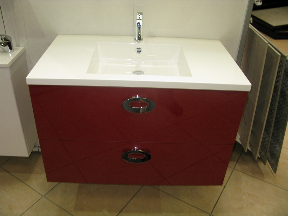 Meuble simple vasque gamme loft 90cm gloss rouge discac for Meubles salle de bain rouge