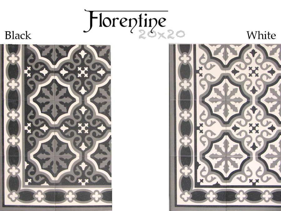 carrelage aspect carreau ciment 20x20 serie florentine. Black Bedroom Furniture Sets. Home Design Ideas