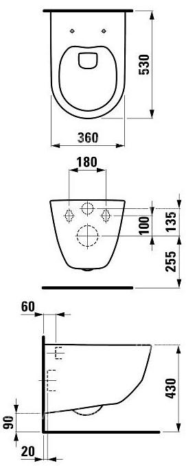 ensemble cuvette sans bride laufen avec b ti support wirquin suspendu baignoire et sanitaire wc. Black Bedroom Furniture Sets. Home Design Ideas