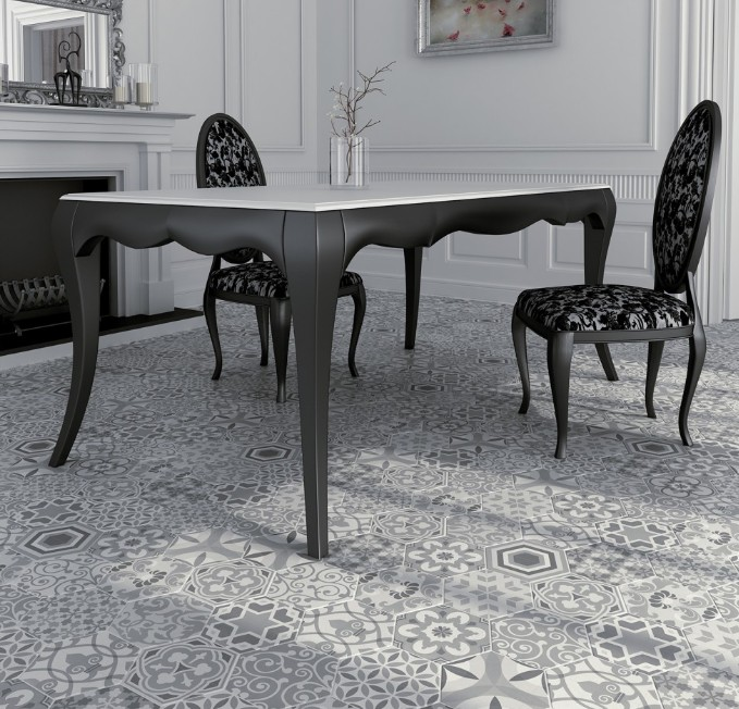 carrelage 175x20 hexatile harmony black and white equipe ceramicas - Carrelage Salle A Manger
