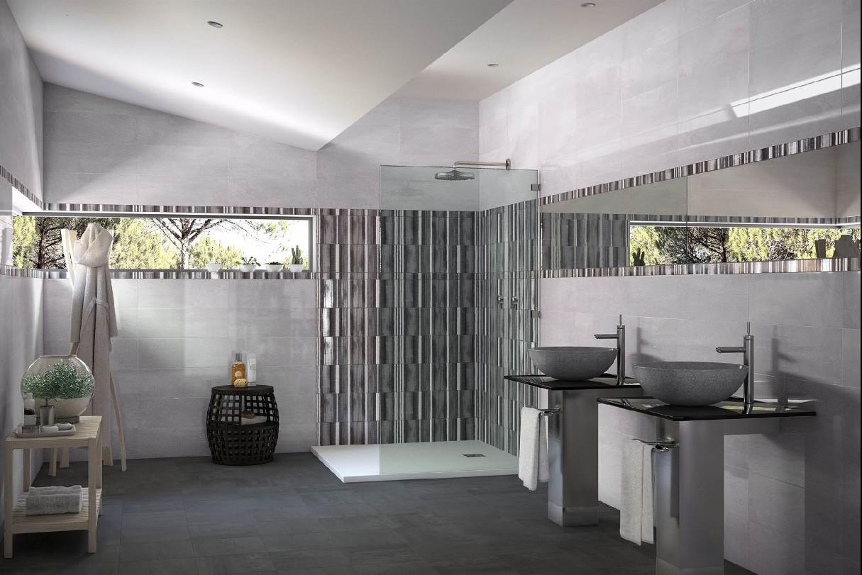 Carrelage 20x60 metalika saloni saloni carrelage salle for Carrelage saloni salle de bain