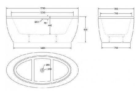 baignoire ilot 174x87 livr e avec tablier freefuerte. Black Bedroom Furniture Sets. Home Design Ideas