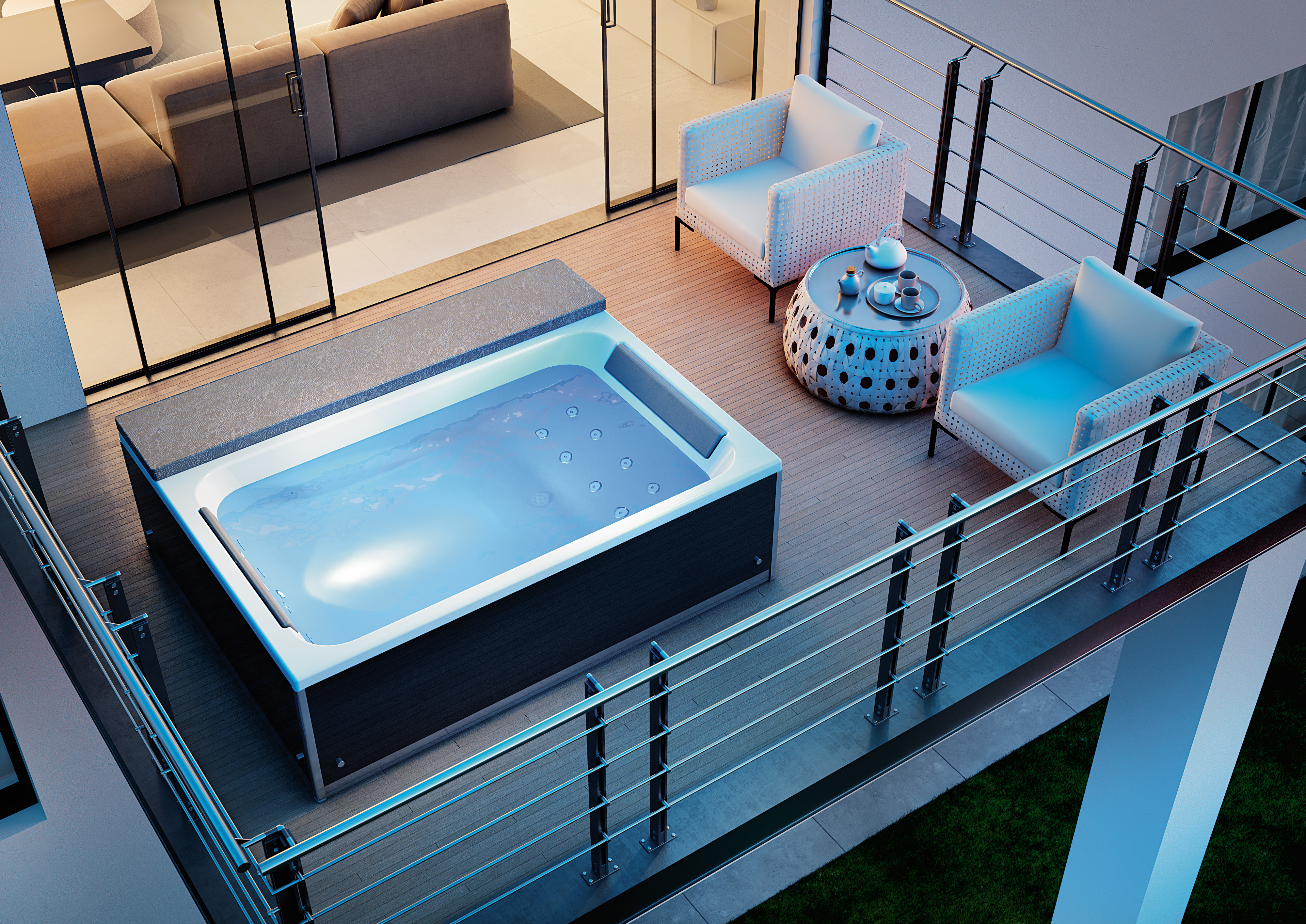 Spa baignoire balneo et spa carrelage