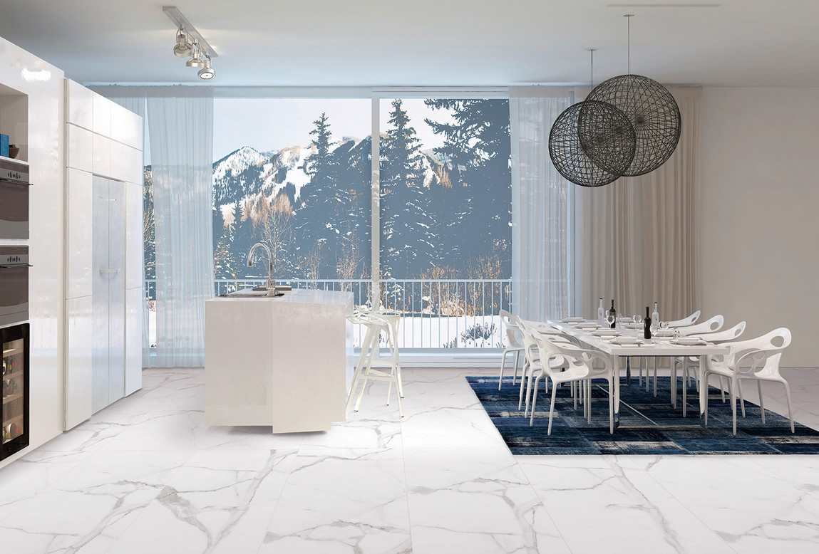 Carrelage 60x60 imitation marbre de carrare cicogres for Carrelage blanc mat 60x60