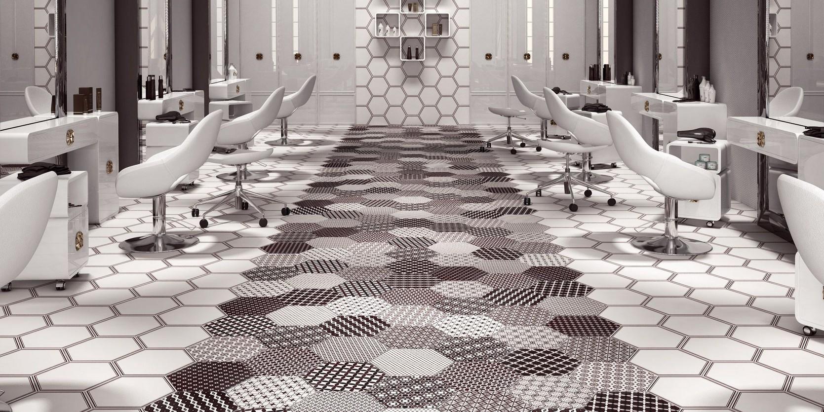 Carrelage tomette 40,40x40 décoré blanc et noir Grazia Realonda ... - Carrelage Hexagonal Sol